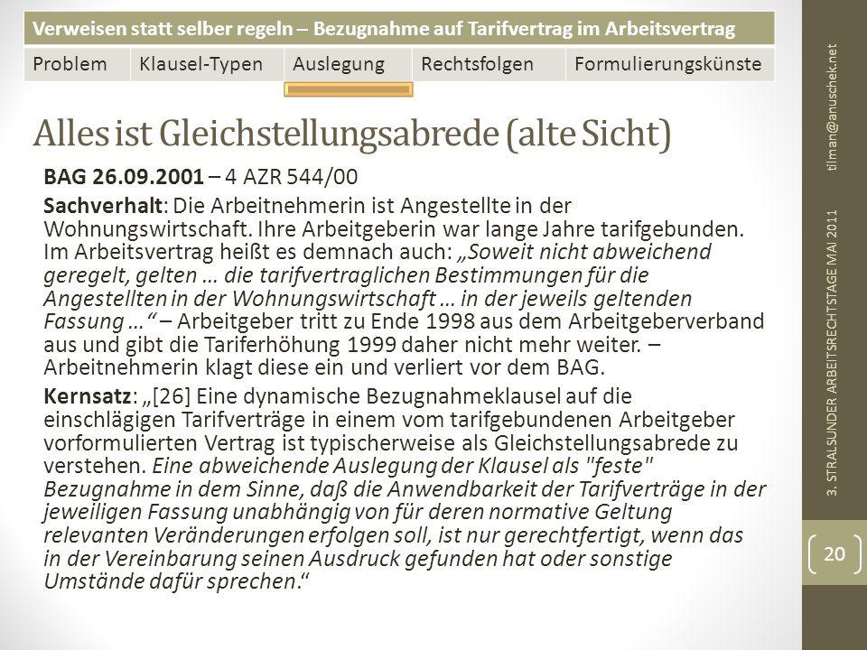 Verweisen statt selber regeln – Bezugnahme auf Tarifvertrag im Arbeitsvertrag ProblemKlausel-TypenAuslegungRechtsfolgenFormulierungskünste Alles ist Gleichstellungsabrede (alte Sicht) tilman@anuschek.net 3.
