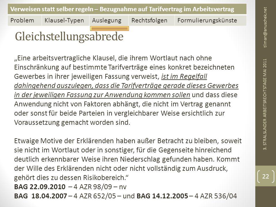 Verweisen statt selber regeln – Bezugnahme auf Tarifvertrag im Arbeitsvertrag ProblemKlausel-TypenAuslegungRechtsfolgenFormulierungskünste Gleichstellungsabrede tilman@anuschek.net 3.