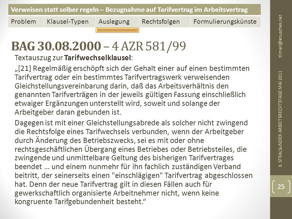 Verweisen statt selber regeln – Bezugnahme auf Tarifvertrag im Arbeitsvertrag ProblemKlausel-TypenAuslegungRechtsfolgenFormulierungskünste BAG 30.08.2000 – 4 AZR 581/99 tilman@anuschek.net 3.