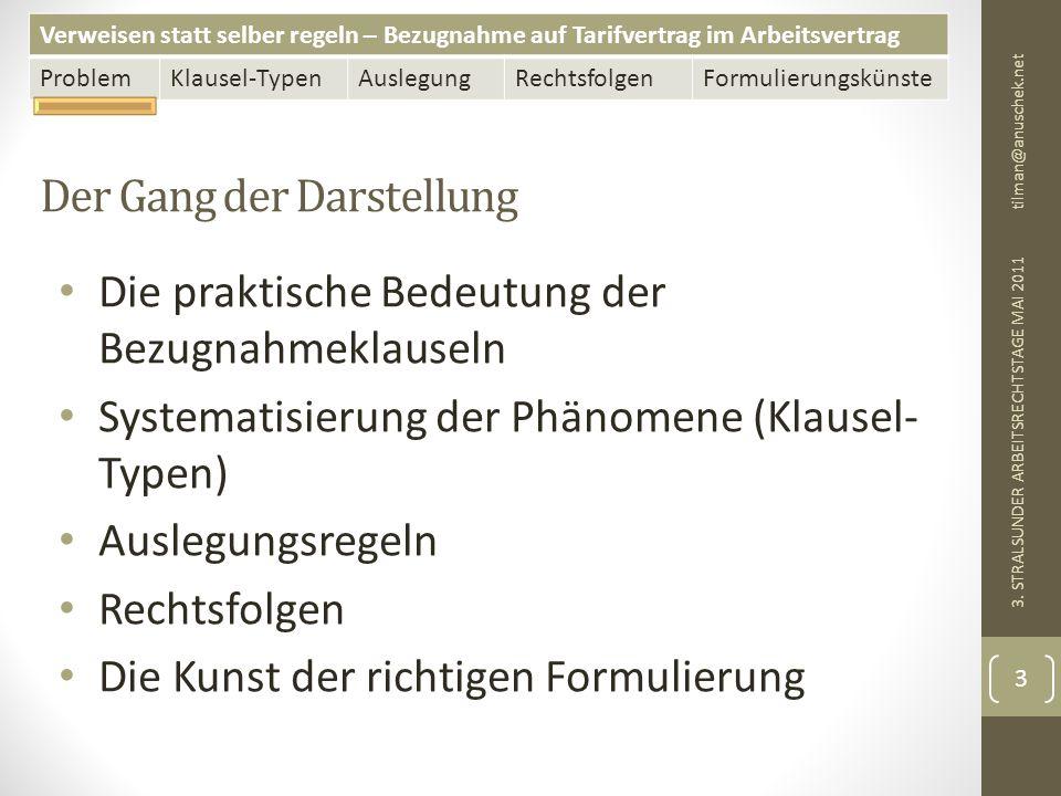 Verweisen statt selber regeln – Bezugnahme auf Tarifvertrag im Arbeitsvertrag ProblemKlausel-TypenAuslegungRechtsfolgenFormulierungskünste Der Gang der Darstellung tilman@anuschek.net 3.