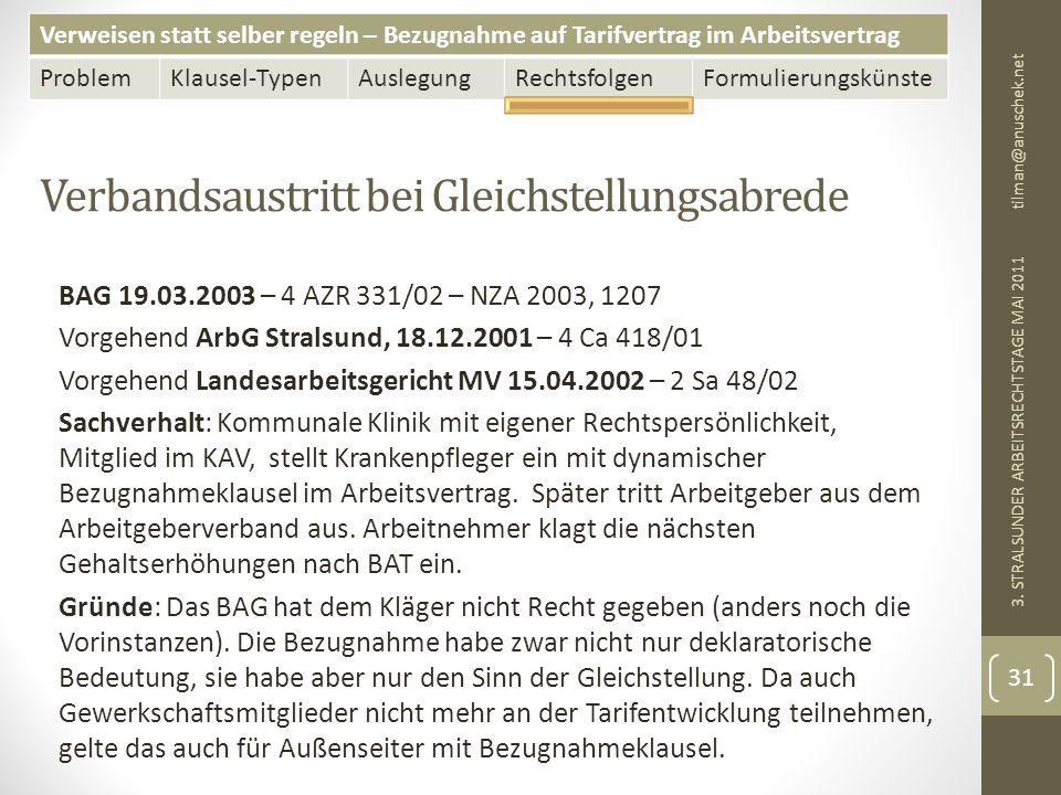 Verweisen statt selber regeln – Bezugnahme auf Tarifvertrag im Arbeitsvertrag ProblemKlausel-TypenAuslegungRechtsfolgenFormulierungskünste Verbandsaustritt bei Gleichstellungsabrede tilman@anuschek.net 3.