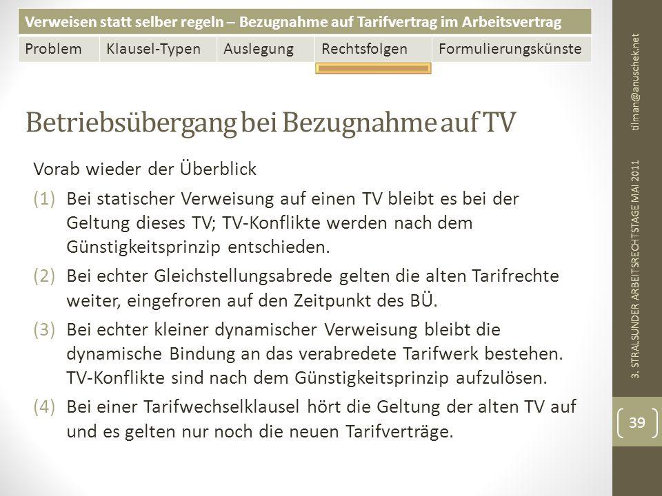 Verweisen statt selber regeln – Bezugnahme auf Tarifvertrag im Arbeitsvertrag ProblemKlausel-TypenAuslegungRechtsfolgenFormulierungskünste Betriebsübergang bei Bezugnahme auf TV tilman@anuschek.net 3.