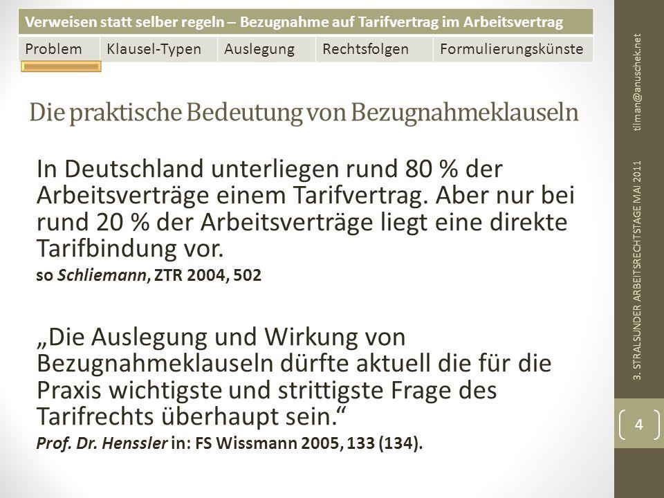 Verweisen statt selber regeln – Bezugnahme auf Tarifvertrag im Arbeitsvertrag ProblemKlausel-TypenAuslegungRechtsfolgenFormulierungskünste BAG 07.07.2010 - 4 AZR 1023/08 – Die Lösung tilman@anuschek.net 3.