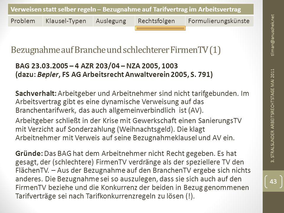 Verweisen statt selber regeln – Bezugnahme auf Tarifvertrag im Arbeitsvertrag ProblemKlausel-TypenAuslegungRechtsfolgenFormulierungskünste Bezugnahme auf Branche und schlechterer FirmenTV (1) tilman@anuschek.net 3.