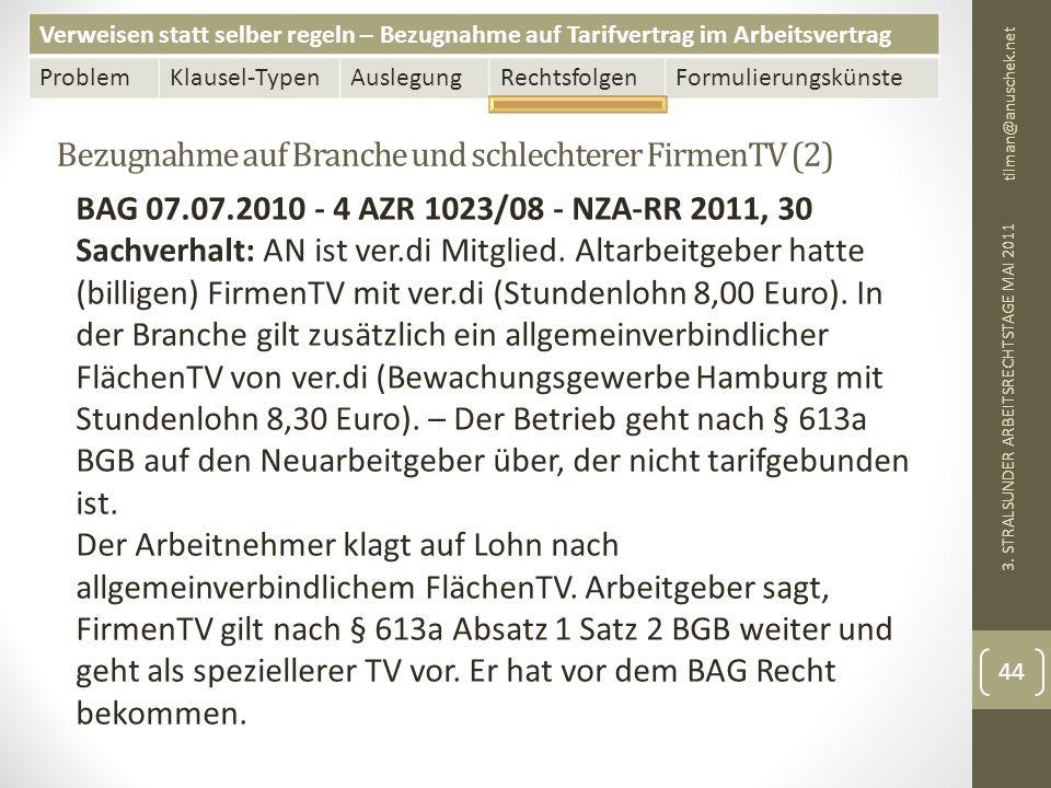 Verweisen statt selber regeln – Bezugnahme auf Tarifvertrag im Arbeitsvertrag ProblemKlausel-TypenAuslegungRechtsfolgenFormulierungskünste Bezugnahme auf Branche und schlechterer FirmenTV (2) tilman@anuschek.net 3.