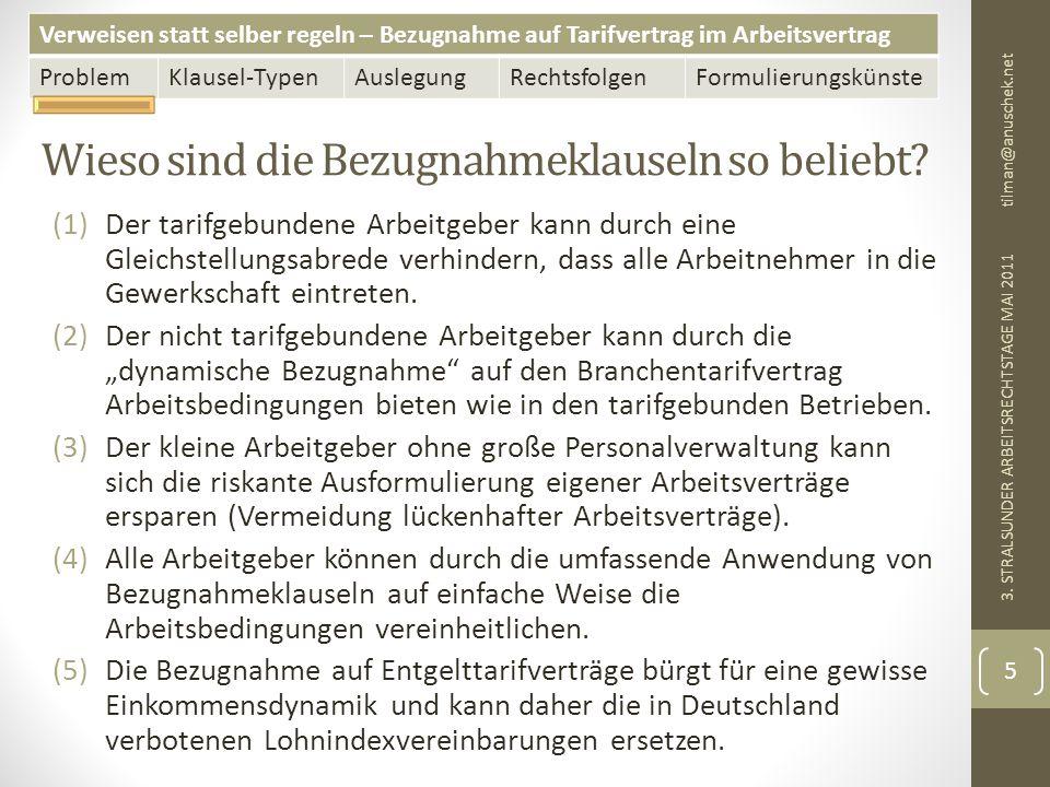 Verweisen statt selber regeln – Bezugnahme auf Tarifvertrag im Arbeitsvertrag ProblemKlausel-TypenAuslegungRechtsfolgenFormulierungskünste Tarifpluralität und Bezugnahmeklausel tilman@anuschek.net 3.