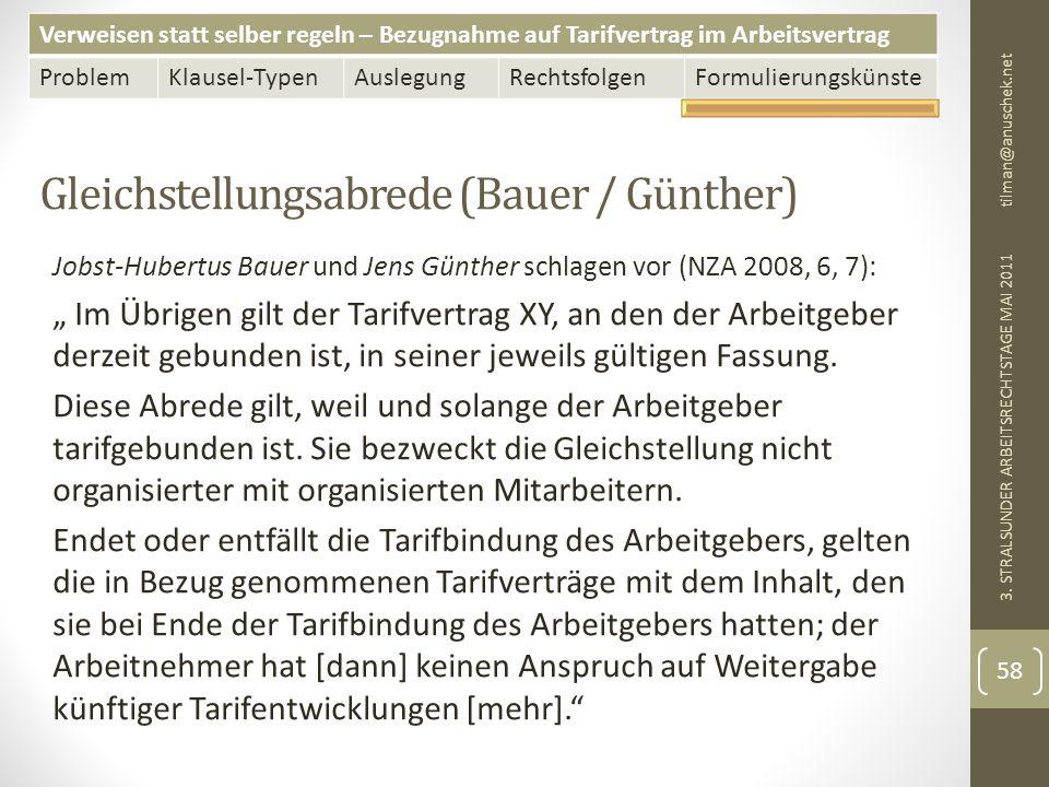 Verweisen statt selber regeln – Bezugnahme auf Tarifvertrag im Arbeitsvertrag ProblemKlausel-TypenAuslegungRechtsfolgenFormulierungskünste Gleichstellungsabrede (Bauer / Günther) tilman@anuschek.net 3.