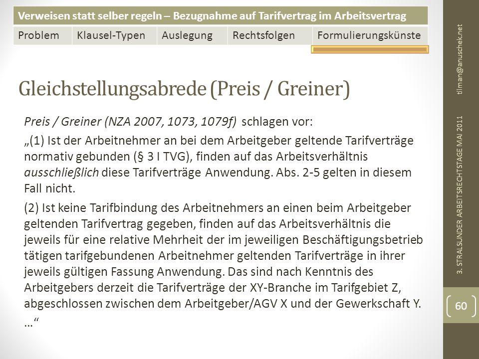 Verweisen statt selber regeln – Bezugnahme auf Tarifvertrag im Arbeitsvertrag ProblemKlausel-TypenAuslegungRechtsfolgenFormulierungskünste Gleichstellungsabrede (Preis / Greiner) tilman@anuschek.net 3.