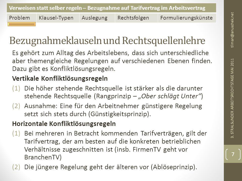 Verweisen statt selber regeln – Bezugnahme auf Tarifvertrag im Arbeitsvertrag ProblemKlausel-TypenAuslegungRechtsfolgenFormulierungskünste Anwendung der dynamischen Klausel-Typen auf typische Problemlagen tilman@anuschek.net 3.