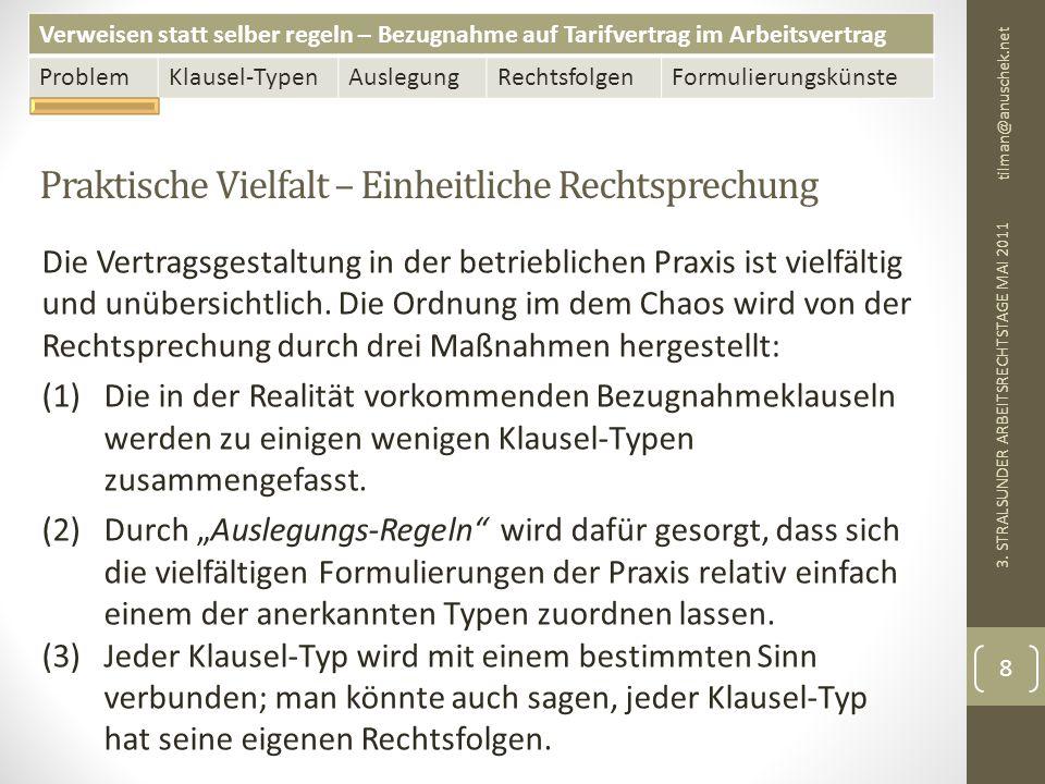 Verweisen statt selber regeln – Bezugnahme auf Tarifvertrag im Arbeitsvertrag ProblemKlausel-TypenAuslegungRechtsfolgenFormulierungskünste Tarifsukzession (Folie 2 von 4) tilman@anuschek.net 3.