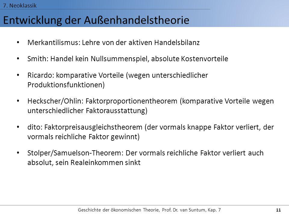 Entwicklung der Außenhandelstheorie 7. Neoklassik Geschichte der ökonomischen Theorie, Prof. Dr. van Suntum, Kap. 7 11 Merkantilismus: Lehre von der a