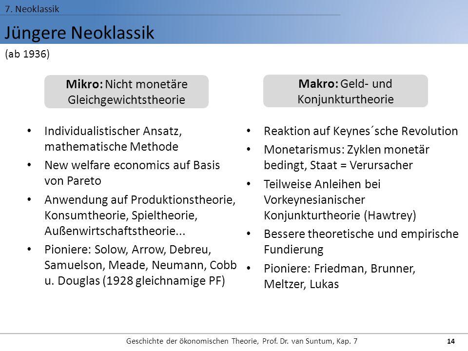 Jüngere Neoklassik 7. Neoklassik Geschichte der ökonomischen Theorie, Prof. Dr. van Suntum, Kap. 7 14 Individualistischer Ansatz, mathematische Method