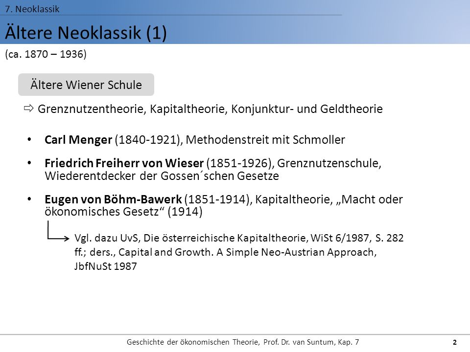 Ältere Neoklassik (1) 7. Neoklassik Geschichte der ökonomischen Theorie, Prof. Dr. van Suntum, Kap. 7 2 Carl Menger (1840-1921), Methodenstreit mit Sc