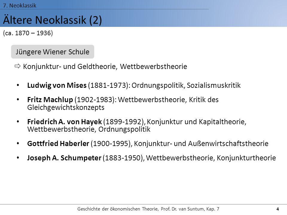 Ältere Neoklassik (2) 7. Neoklassik Geschichte der ökonomischen Theorie, Prof. Dr. van Suntum, Kap. 7 4 Ludwig von Mises (1881-1973): Ordnungspolitik,