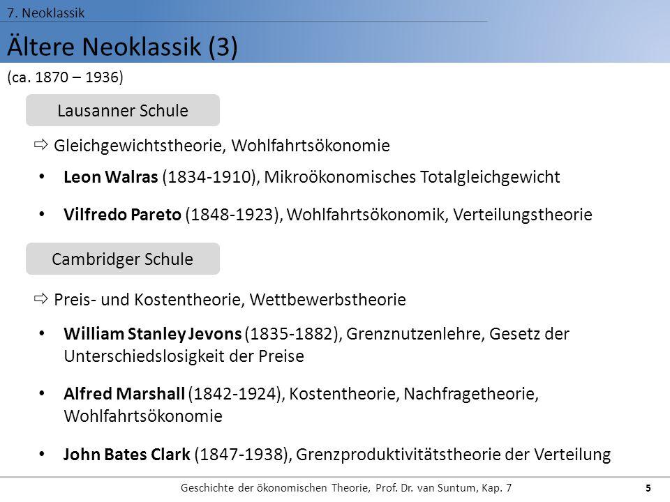 Ältere Neoklassik (3) 7. Neoklassik Geschichte der ökonomischen Theorie, Prof. Dr. van Suntum, Kap. 7 5 Leon Walras (1834-1910), Mikroökonomisches Tot