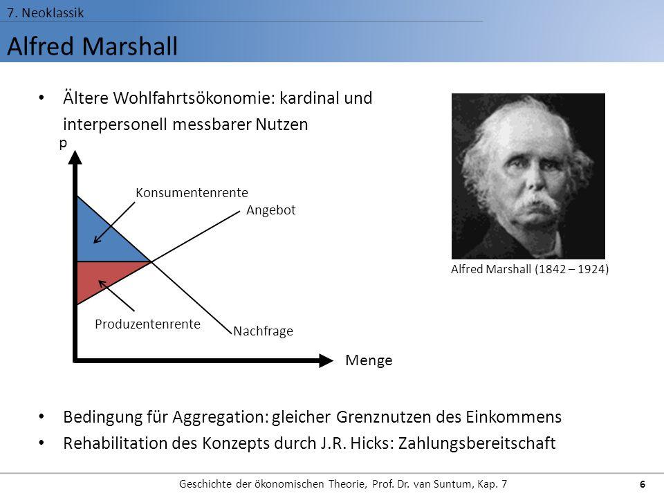 Alfred Marshall 7. Neoklassik Geschichte der ökonomischen Theorie, Prof. Dr. van Suntum, Kap. 7 6 Ältere Wohlfahrtsökonomie: kardinal und interpersone
