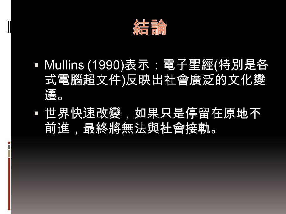  Mullins (1990) 表示:電子聖經 ( 特別是各 式電腦超文件 ) 反映出社會廣泛的文化變 遷。  世界快速改變,如果只是停留在原地不 前進,最終將無法與社會接軌。