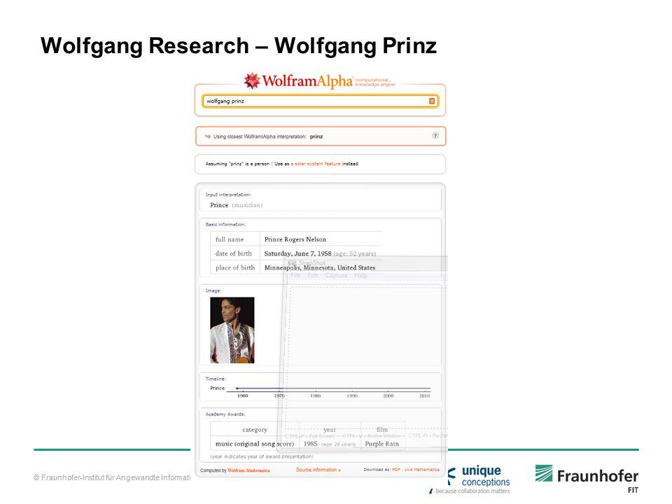 © Fraunhofer-Institut für Angewandte Informationstechnik FIT Wolfgang Research – Wolfgang Prinz