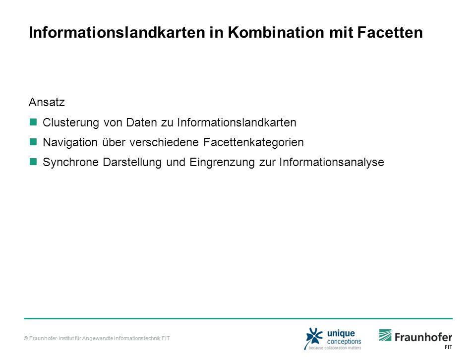 © Fraunhofer-Institut für Angewandte Informationstechnik FIT Informationslandkarten in Kombination mit Facetten Ansatz Clusterung von Daten zu Informationslandkarten Navigation über verschiedene Facettenkategorien Synchrone Darstellung und Eingrenzung zur Informationsanalyse