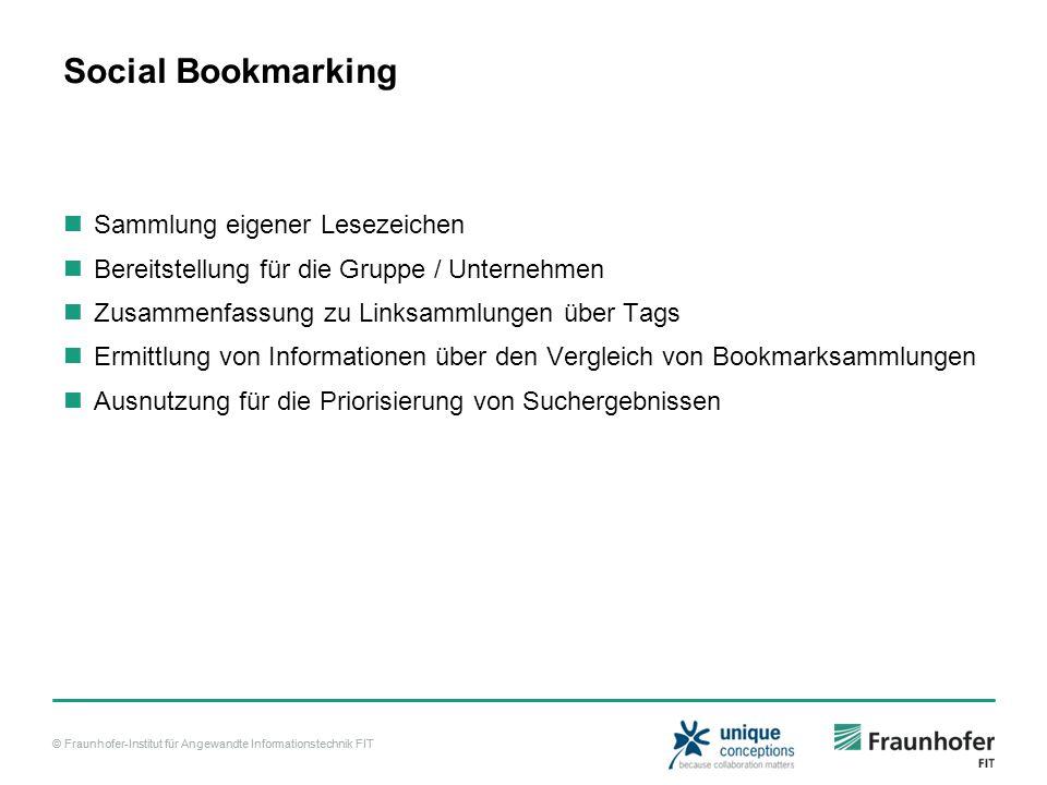 © Fraunhofer-Institut für Angewandte Informationstechnik FIT Social Bookmarking Sammlung eigener Lesezeichen Bereitstellung für die Gruppe / Unternehmen Zusammenfassung zu Linksammlungen über Tags Ermittlung von Informationen über den Vergleich von Bookmarksammlungen Ausnutzung für die Priorisierung von Suchergebnissen