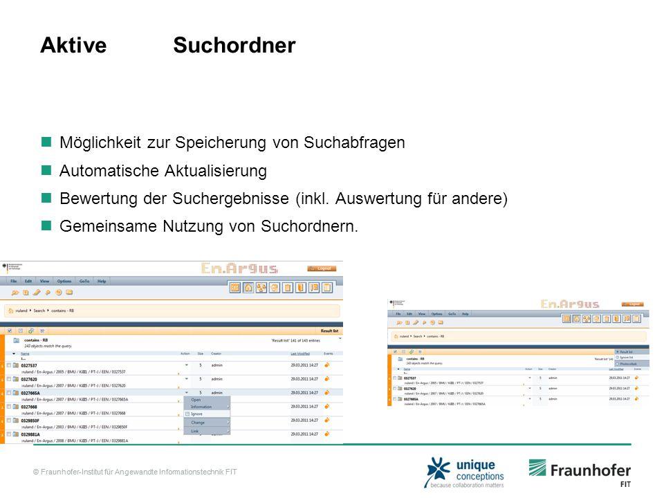 © Fraunhofer-Institut für Angewandte Informationstechnik FIT Aktive Suchordner Möglichkeit zur Speicherung von Suchabfragen Automatische Aktualisierung Bewertung der Suchergebnisse (inkl.
