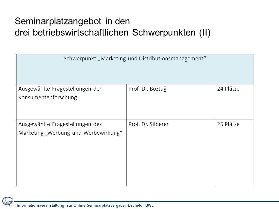 """Informationsveranstaltung zur Online-Seminarplatzvergabe, Bachelor BWL 10 Schwerpunkt """"Unternehmensführung Seminar OrganisationProf."""