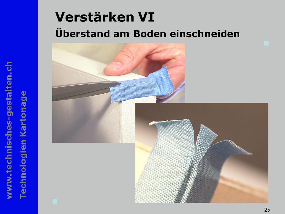 www.technisches-gestalten.ch Technologien Kartonage 25 Verstärken VI Überstand am Boden einschneiden