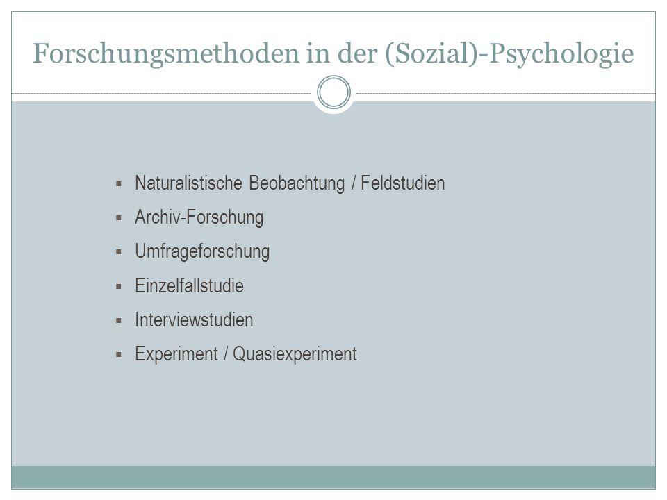 Forschungsmethoden in der (Sozial)-Psychologie  Naturalistische Beobachtung / Feldstudien  Archiv-Forschung  Umfrageforschung  Einzelfallstudie 