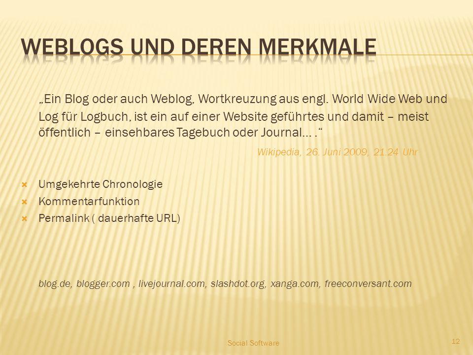 """""""Ein Blog oder auch Weblog, Wortkreuzung aus engl. World Wide Web und Log für Logbuch, ist ein auf einer Website geführtes und damit – meist öffentlic"""