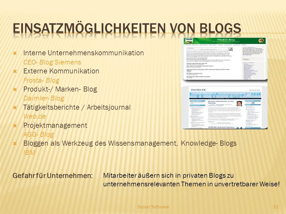  Interne Unternehmenskommunikation CEO- Blog Siemens  Externe Kommunikation Frosta- Blog  Produkt-/ Marken- Blog Daimler- Blog  Tätigkeitsberichte