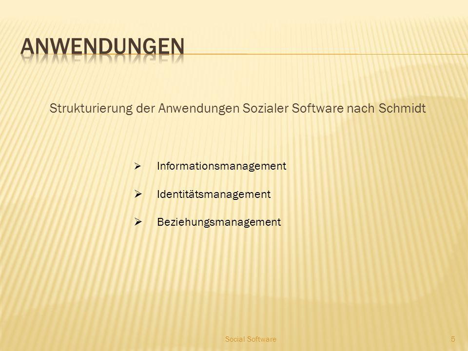 Strukturierung der Anwendungen Sozialer Software nach Schmidt 5  Informationsmanagement  Identitätsmanagement  Beziehungsmanagement Social Software