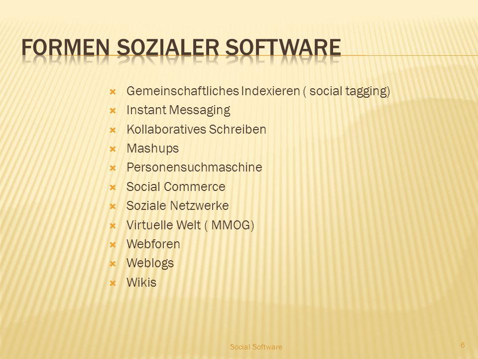  Gemeinschaftliches Indexieren ( social tagging)  Instant Messaging  Kollaboratives Schreiben  Mashups  Personensuchmaschine  Social Commerce 