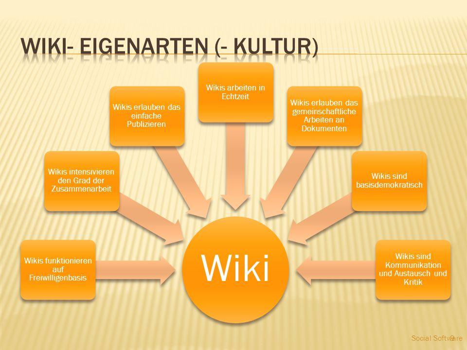 9 Wiki Wikis funktionieren auf Freiwilligenbasis Wikis intensivieren den Grad der Zusammenarbeit Wikis erlauben das einfache Publizieren Wikis arbeite