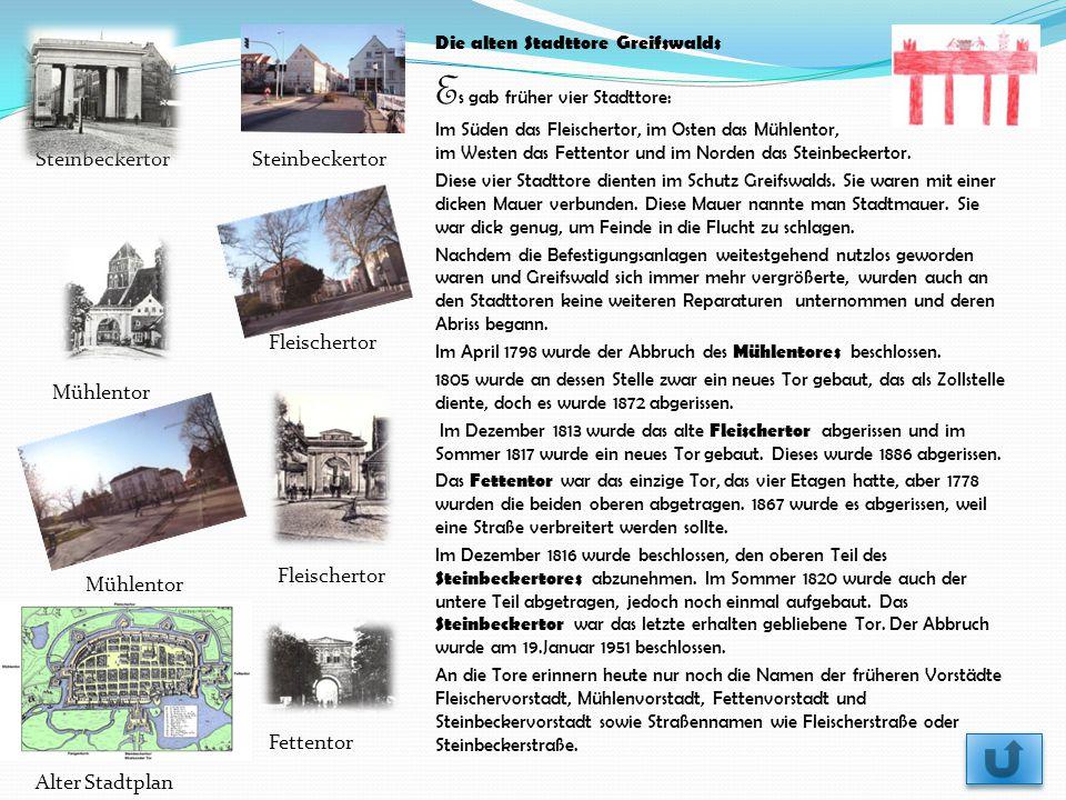Steinbeckertor Fleischertor Mühlentor Fleischertor Fettentor Alter Stadtplan Die alten Stadttore Greifswalds E s gab früher vier Stadttore: Im Süden d