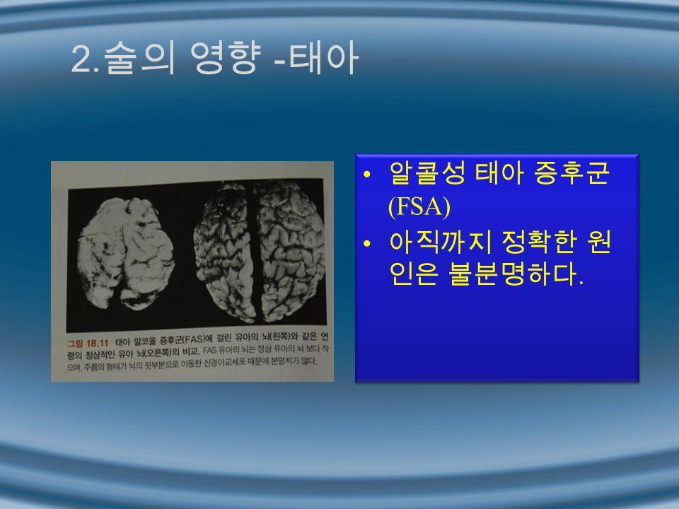 2. 술의 영향 - 태아 알콜성 태아 증후군 (FSA) 아직까지 정확한 원 인은 불분명하다. 알콜성 태아 증후군 (FSA) 아직까지 정확한 원 인은 불분명하다.