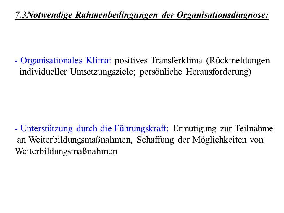 7.3Notwendige Rahmenbedingungen der Organisationsdiagnose: - Organisationales Klima: positives Transferklima (Rückmeldungen individueller Umsetzungszi