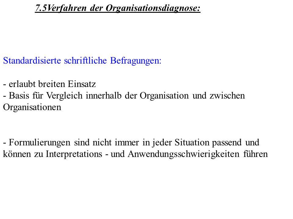 7.5Verfahren der Organisationsdiagnose: Standardisierte schriftliche Befragungen: - erlaubt breiten Einsatz - Basis für Vergleich innerhalb der Organi