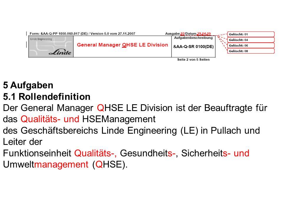 5 Aufgaben 5.1 Rollendefinition Der General Manager QHSE LE Division ist der Beauftragte für das Qualitäts- und HSEManagement des Geschäftsbereichs Li