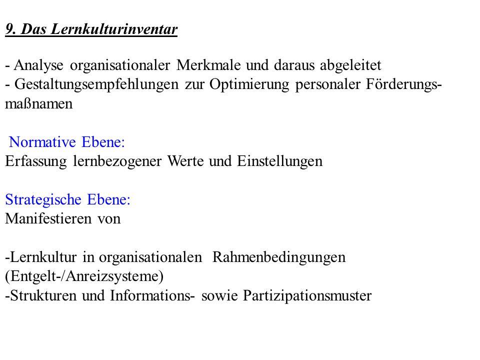 9. Das Lernkulturinventar - Analyse organisationaler Merkmale und daraus abgeleitet - Gestaltungsempfehlungen zur Optimierung personaler Förderungs- m