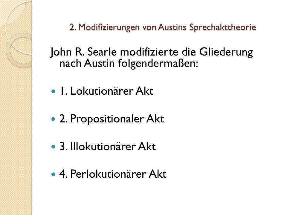 2.Modifizierungen von Austins Sprechakttheorie John R.