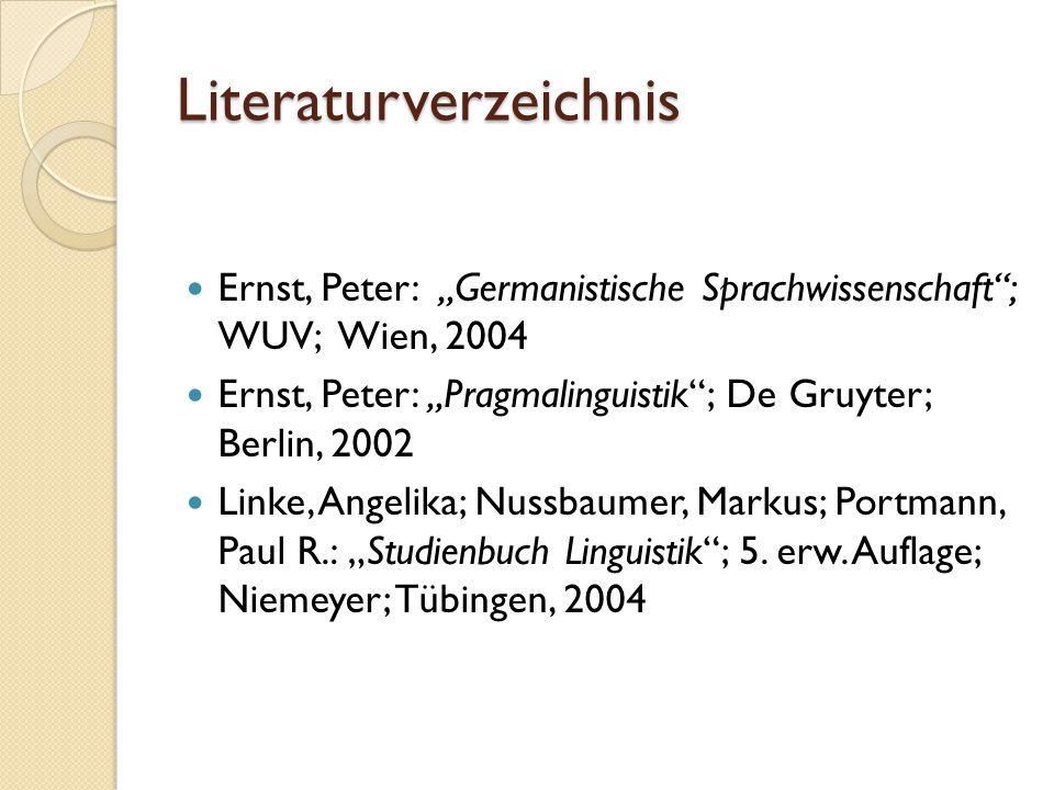 """Literaturverzeichnis Ernst, Peter: """"Germanistische Sprachwissenschaft ; WUV; Wien, 2004 Ernst, Peter: """"Pragmalinguistik ; De Gruyter; Berlin, 2002 Linke, Angelika; Nussbaumer, Markus; Portmann, Paul R.: """"Studienbuch Linguistik ; 5."""