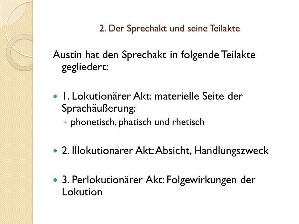2.Der Sprechakt und seine Teilakte Austin hat den Sprechakt in folgende Teilakte gegliedert: 1.