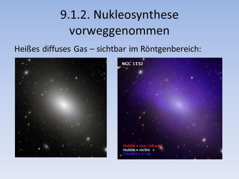 9.1.2. Nukleosynthese vorweggenommen Heißes diffuses Gas – sichtbar im Röntgenbereich: