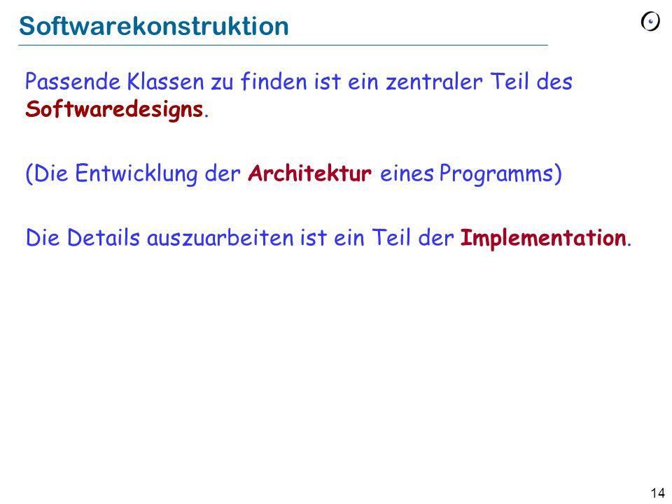 14 Softwarekonstruktion Passende Klassen zu finden ist ein zentraler Teil des Softwaredesigns. (Die Entwicklung der Architektur eines Programms) Die D