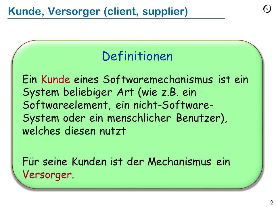 2 Kunde, Versorger (client, supplier) Definitionen Ein Kunde eines Softwaremechanismus ist ein System beliebiger Art (wie z.B. ein Softwareelement, ei