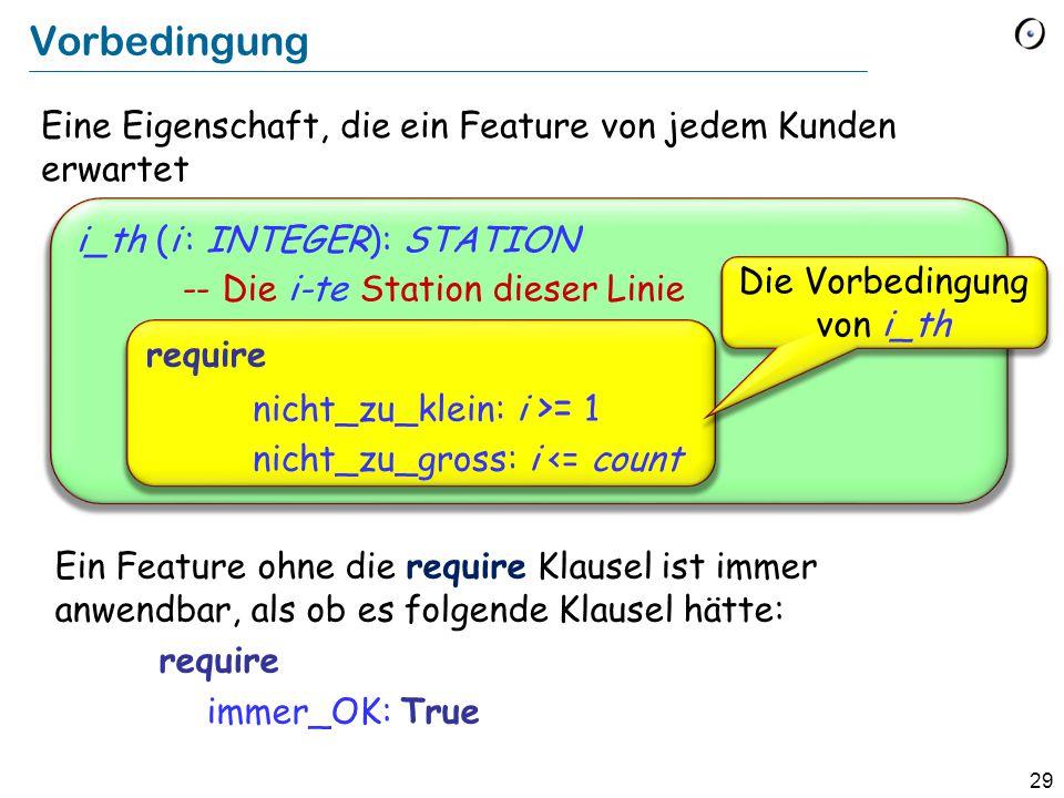 29 Eine Eigenschaft, die ein Feature von jedem Kunden erwartet i_th (i : INTEGER): STATION -- Die i-te Station dieser Linie Vorbedingung require nicht_zu_klein: i >= 1 nicht_zu_gross: i <= count Die Vorbedingung von i_th Ein Feature ohne die require Klausel ist immer anwendbar, als ob es folgende Klausel hätte: require immer_OK: True