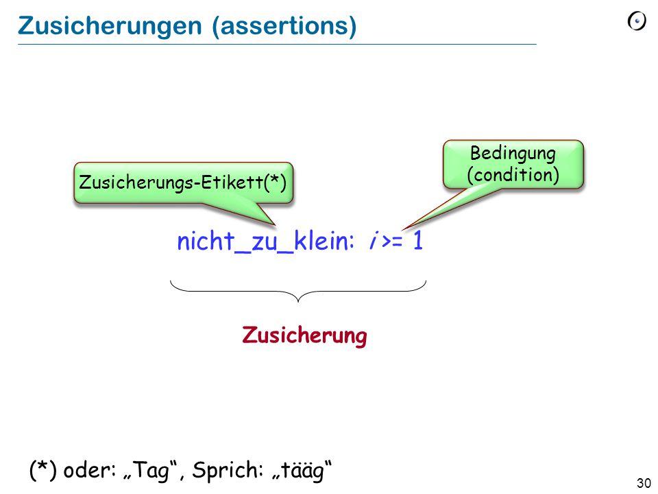"""30 Zusicherungen (assertions) nicht_zu_klein: i >= 1 Zusicherung Bedingung (condition) Zusicherungs-Etikett(*) (*) oder: """"Tag , Sprich: """"tääg"""