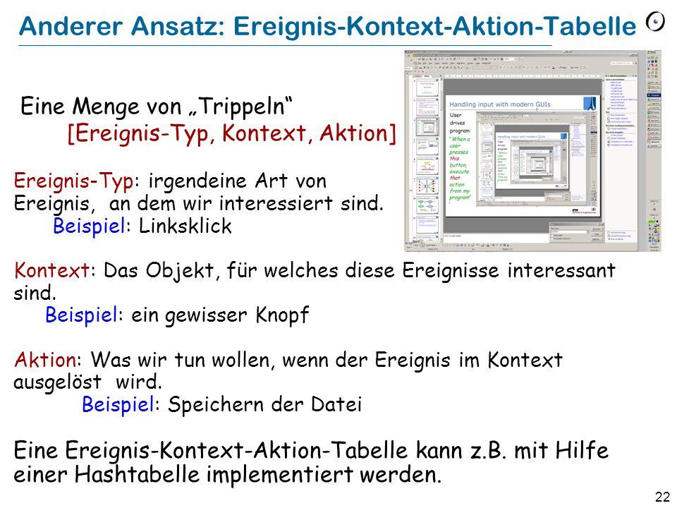 """22 Anderer Ansatz: Ereignis-Kontext-Aktion-Tabelle Eine Menge von """"Trippeln [Ereignis-Typ, Kontext, Aktion] Ereignis-Typ: irgendeine Art von Ereignis, an dem wir interessiert sind."""