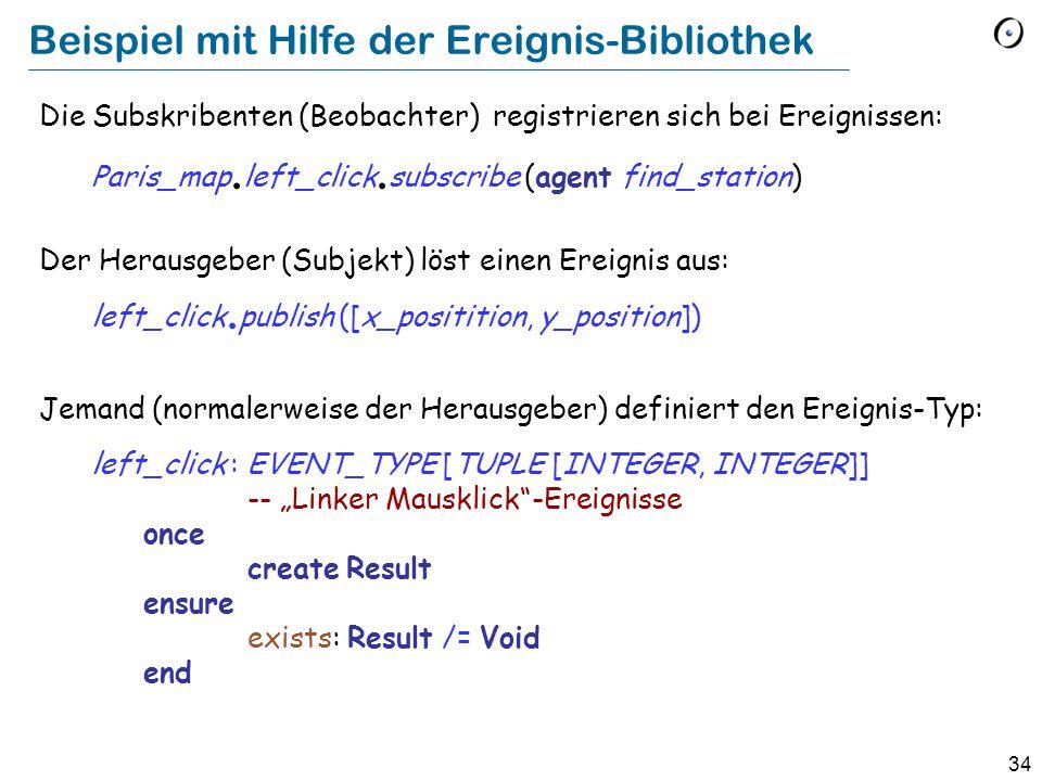 34 Beispiel mit Hilfe der Ereignis-Bibliothek Die Subskribenten (Beobachter) registrieren sich bei Ereignissen: Paris_map.