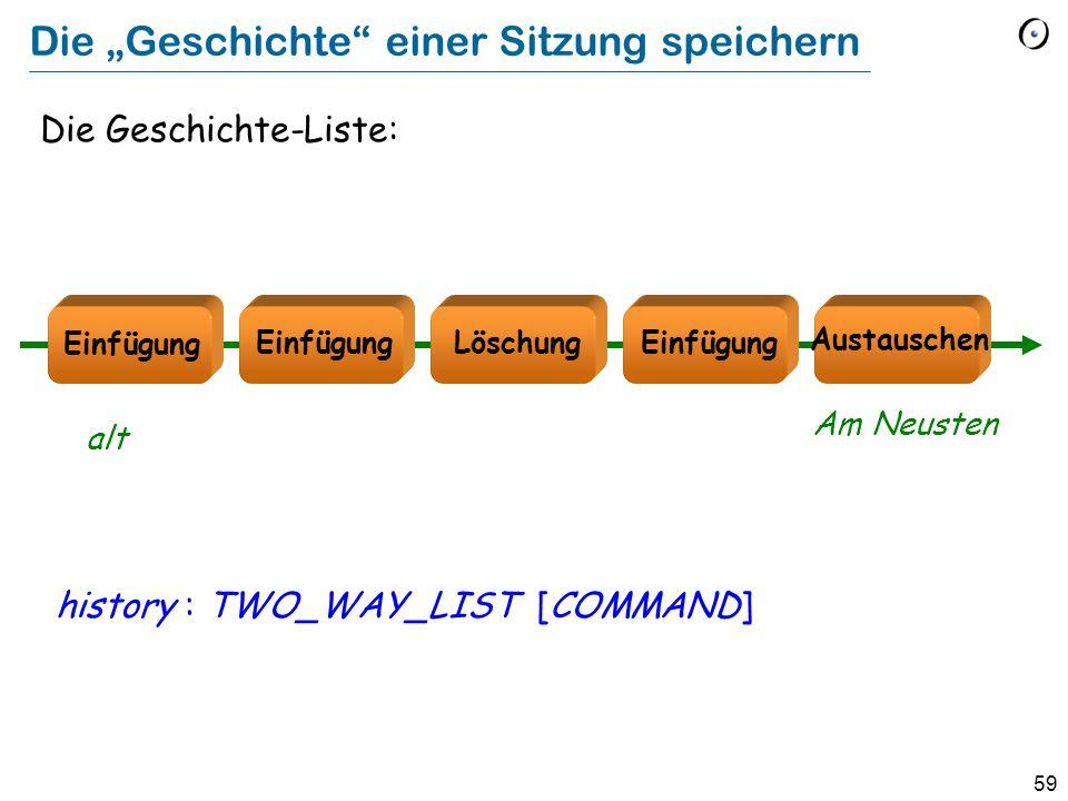 """59 Die """"Geschichte einer Sitzung speichern Die Geschichte-Liste: history : TWO_WAY_LIST [COMMAND] Löschung Austauschen Einfügung alt Am Neusten"""
